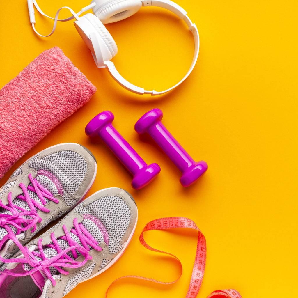Itens para fazer exercício físico e aliviar a dor.