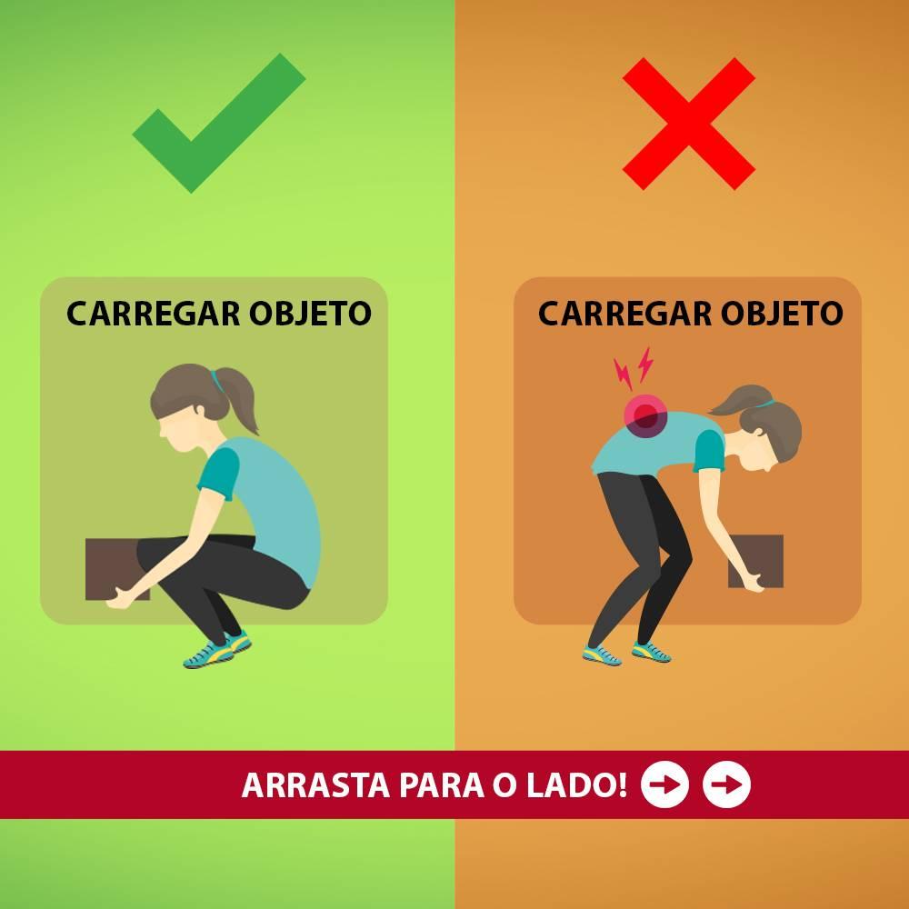 Postura correta para carregar objetos.