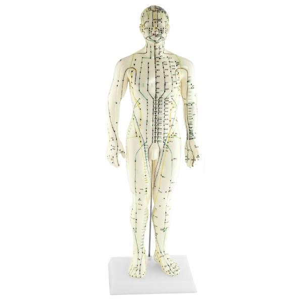 Boneco de cerâmica com pontos trabalhados pela acupuntura.